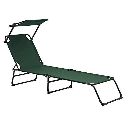 Tumbona Plegable 190cm Verde Oscuro con Techo - Acero - Hamaca de Playa, para jardín, Silla reclinable Piscina