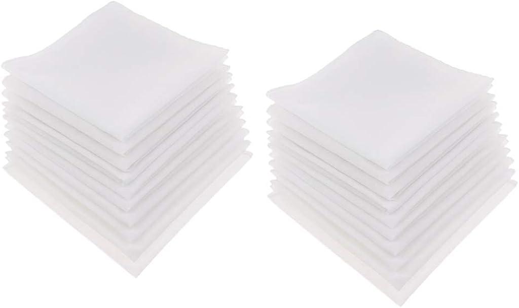 AMLESO 20Pcs Mens 100% Cotton Handkerchiefs Classic White Square Bulk Set