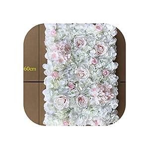 1Pcs Artificial Flower Wall Wedding Background Decoration Lawn Pillar Road Lead Flower Arch Silk Rose Hydrangea White Flower,White Pink,60X40Cm