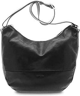GIUDI ® - Sacca, borsa Donna in pelle vacchetta, vera pelle, Made in Italy, tracolla. (Nero)