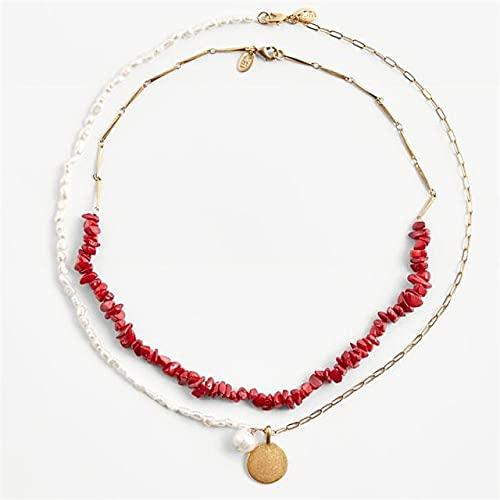 Minyose Gargantillas de Cuentas únicas Collares para Mujer Charm Pearl Stone Collares llamativos Tobilleras Pendientes Conjunto de Joyas