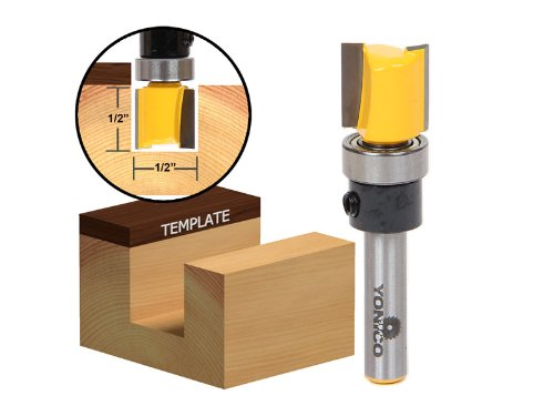 Yonico 14169q 1/2-Inch Hinge Mortise Flush Trim Template Router Bit 1/4-Inch Shank