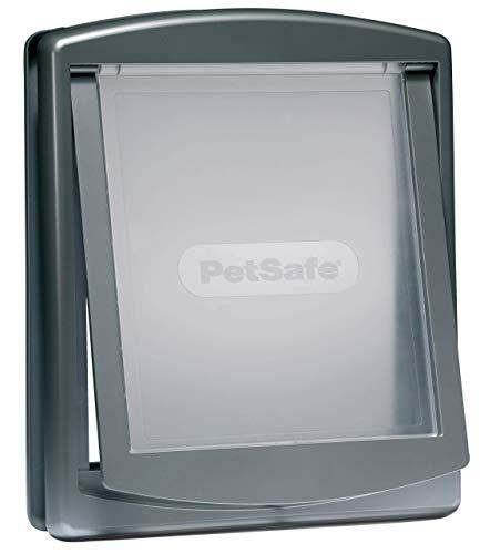 PetSafe Staywell Original Katzenklappe, Hundeklappe, 2-Wege-System, Innentür & Außenmontage, Robuste Plastikklappe, Einfache Montage, Verschiedene Größen, , silber, L