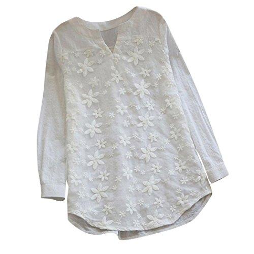 PAOLIAN Blusa Lino de Mujer Manga Largas Otoño 2018 Blusa Moda Señora Escote V Asimetricas Camisetas Costura Floral Ropa para Mujer Fiesta Camisa Blancas Ancho Tallas Grandes