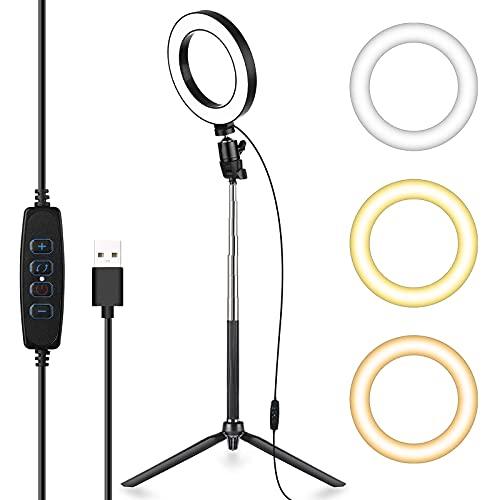 6 Zoll LED Ringlicht mit Stativ Ständer, Dimmbarer Ringleuchte mit 127CM Einstellbarem Stickständer Selfie Livestream Blitzgeräte Beleuchtung für Make-up Fotografie Outdoor Videokamera(3 Lichtmodi)