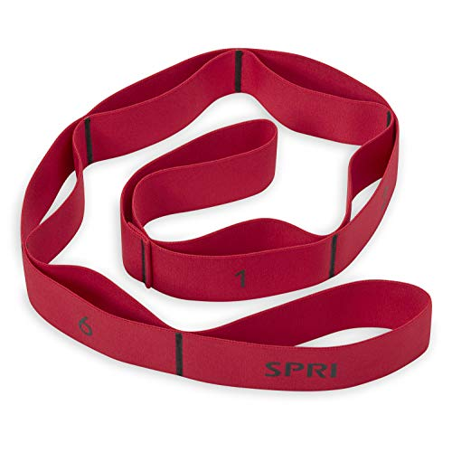 SPRI Stretch Strap with Loop Handles - Resistance Band Elastic Stretching Strap Hand/Foot Assist for Exercise & Fitness, Pre or Post Workout for Legs, Hamstring, Arms, Back, red