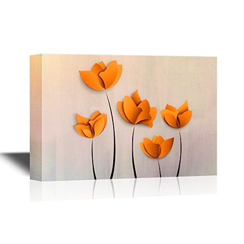 wall26 Canvas Wall Art - Abstract Orange Flowers on Grey Background - Gallery Wrap Modern Home Decor | Ready to Hang - 16x24 inches