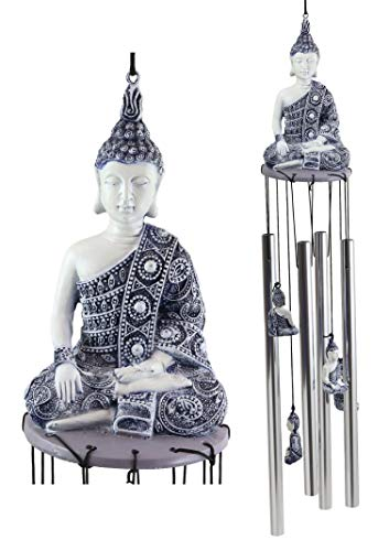 Ebros Gift Feng Shui Buddhism Buddha Amitabha Meditating in Bhumisparsha Mudra Figurine Crown Top Resonant Wind Chime with Miniature Ornamental Buddhas for Garden Patio Home Decorative Accent