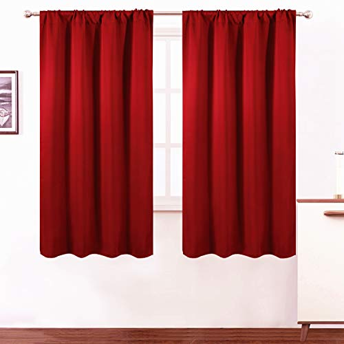 LEMOMO Red Blackout Curtains/42 x 63 Inch/Set of 2 Panels Room Darkening Curtains for Bedroom