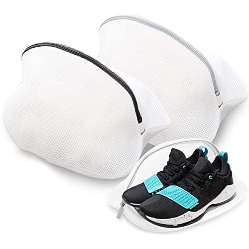 Wäschenetz für Schuhe/Sneaker, Schuh-Wäschebeutel mit Reißverschluss für Waschmaschine Schuhnetz Schuhbeutel, Wäschesack Schutz Wäschenetze für Aufbewahrung und die Reise, 2 Pcs(Schwarz + Weiß)