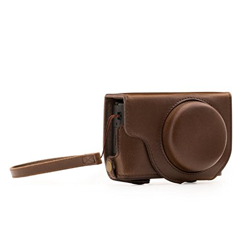 Megagear Panasonic Lumix Dmc-Lx10 Ever Ready Custodia In Finta Pelle Per Fotocamera Con Tracolla Marrone Scuro Mg1133