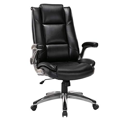 Office Chair High Back Leather Executive Computer Desk Chair - Flip-up Arms and Adjustable Rock Tension Swivel Chair Thick Padding for Comfort and Ergonomic Design for Lumbar Support (Black)