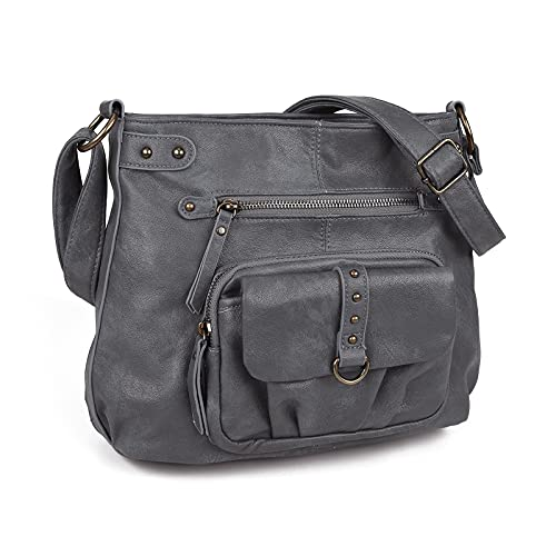 Large Crossbody Bags for Women PU Washed Leather Over the Shoulder Travel Purses and Boho Cross Body Handbags,Multi Pockets,Dark Grey