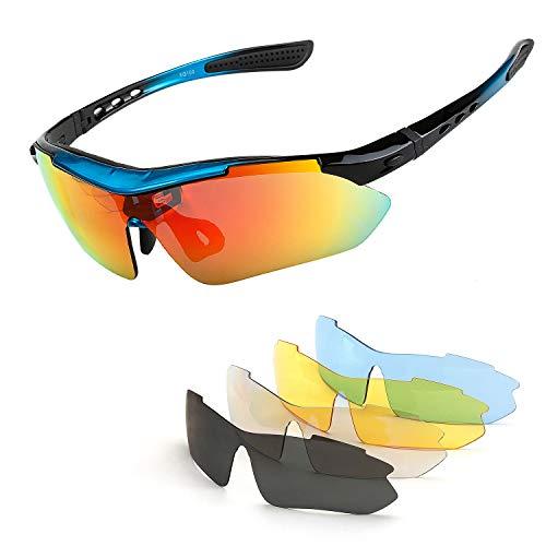Renzer Gafas Bicicleta Montaña Hombre Gafas Ciclismo Hombre Polarizadas Gafas MTB con 5 Lentes Intercambiables Azul