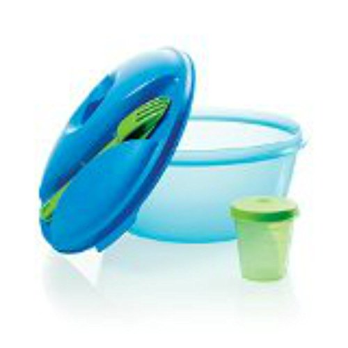 Healthy Lunch Salad Container with Snap on Individual Knife Fork and Dressing Containers Eco Water Bottle