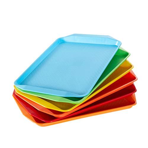 Yarnow Bandeja Estándar de 2 Piezas para Cafetería/Comida Rápida Antideslizante Rectángulo Placa de Postre Bandeja de Pastel 42. 5X30. 3X2. 8 Cm (Color Mezclado)
