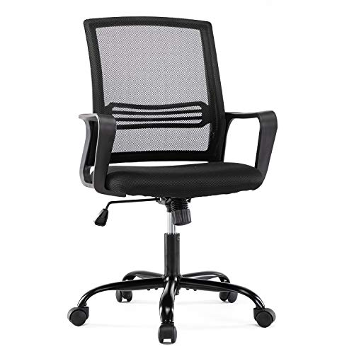 Ergonomic Task Chair, Mid-Back Computer Mesh Desk Swivel Office Chair with Armrests, Black