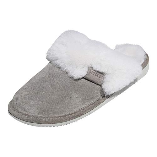 Hollert Leather Lammfell Hausschuhe - Malibu Damen Pantoffeln Fell Schuhe, Grau/Weiß, 42 EU