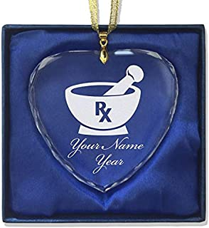 LaserGram Christmas Ornament, Rx Pharmacy Symbol, Personalized Engraving Included (Heart Shape)