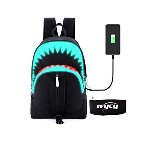 WYCY Luminous Backpack Fashion Schoolbag with USB Charging Port and Luminous Pencil Case, Unisex School bag Lifelike Student Bag for Elementary and Middle School (black shark)