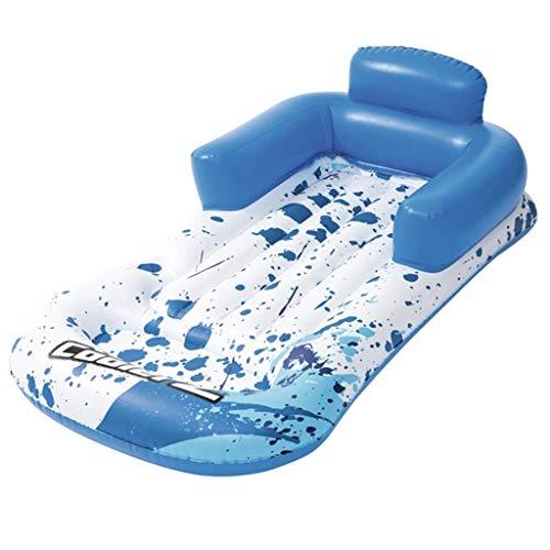 Pool Spielzeuge Rückenlehne Für Erwachsene Schwimmende Einzelreihe Aufblasbares Schwimmendes Bett Wasserbett Strandmatte Wasserkissen Gewichttragend 90kg (Color : Blue, Size : 161 * 84cm)