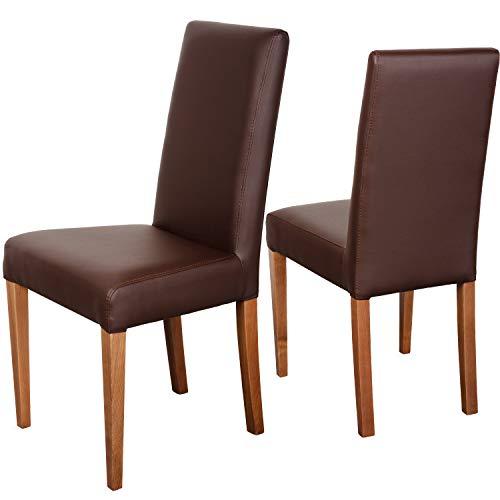 Staboos 2er Set Esszimmerstühle bis 120 kg - Leder Polsterstuhl CH22 - Holzstuhl gepolstert (nussbaum - braun)