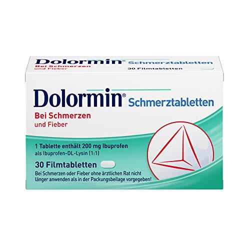 Dolormin Schmerztabletten – bei Schmerzen und Fieber – wie Kopf-, Zahn- und Regelschmerzen – 30 Tabletten