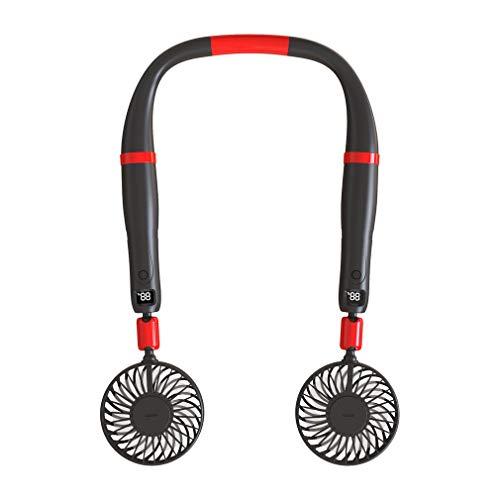 CloverGorge Ventilador Dos en uno con Cuello Colgante de Mano Ventilador Giratorio doméstico silencioso para...
