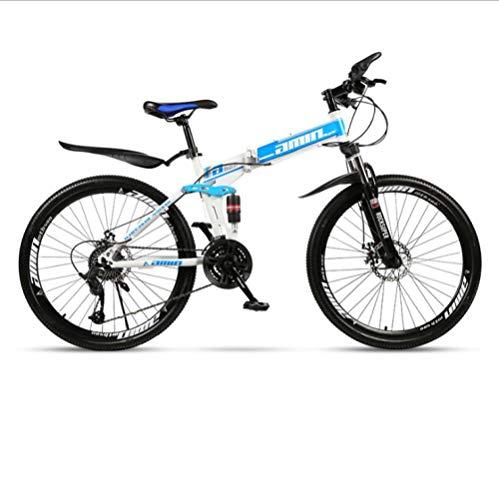 Bicicleta de montaña plegable de 24 pulgadas, rueda integrada para adultos, doble absorción de impactos, rueda de radios de bicicleta de velocidad variable para todo terreno-blanco azul_30 velocidades