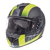 MT Cascos de moto - Rapide Overtake - Matt Negro/Amarillo Fluorescente L