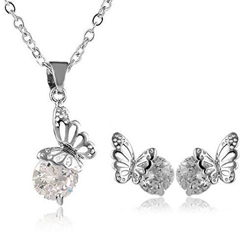 NUEVO Cristal de Swarovski mariposa Juego de Collar con Colgante en forma de pendientes chapado en oro blanco