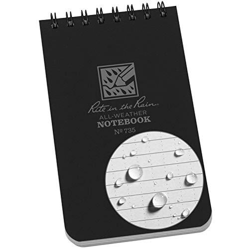 "Rite in the Rain Weatherproof Top-Spiral Notebook, 3"" x 5"", Black Cover, Universal Pattern (No. 735)"