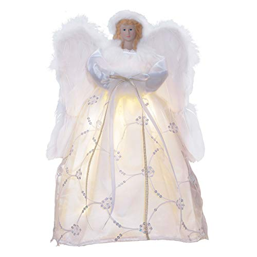 Valery Madelyn 16.3 inch Frozen Winter Silver White Christmas Angel Tree Topper, Angel Tree Top with 10 Warm LED Lights, Battery Operated (Not Included)