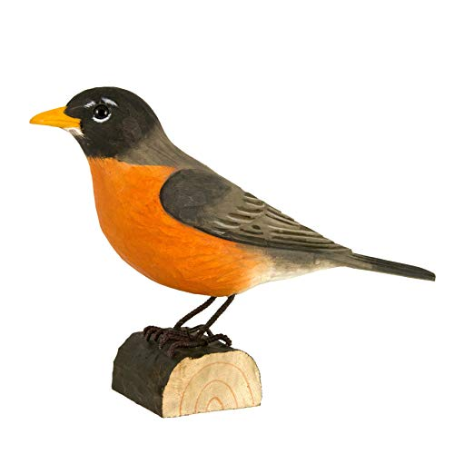 WILDLIFEGARDEN American Robin DecoBird, Hand-Carved Wood Replica for Indoor or Outdoor Use, Artisanal Life-Like Figurine Designed in Sweden
