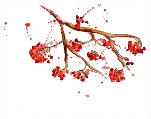 Y·JIANG Pintura por números árbol acuarela salpicaduras Rowan blanco marrón rojo DIY lienzo acrílico pintura al óleo por números para adultos niños decoración de la pared del hogar, 40,6 x 50,8 cm