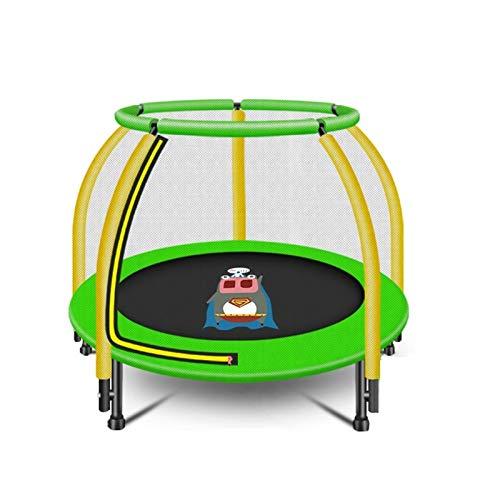 LICHUAN Trampolín redondo Indor al aire libre con red de seguridad Muelles equipo de gimnasia para ejercicio en el hogar Fitness para niños aro de baloncesto (color verde)