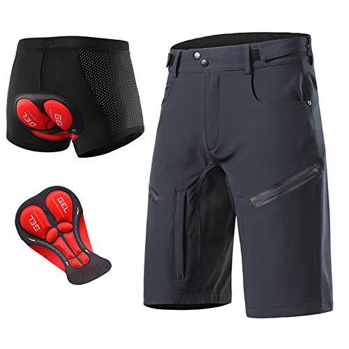 Pantalon Mountain Bike Hombre Ropa De Ciclismo MTB Holgado Malla Respirable Cintura Elástica Ajustable Secado Rápido con 5 Bolsillos Reflexivo Pantalon Ciclismo Hombre,Gris,S