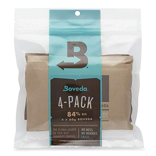Boveda for Cigars | 84% RH 2-Way Humidity Control for Humidor Seasoning | Size 60 for Use with Every 25 Cigars a Humidor Can Hold | Properly Seasons a Wood Humidor in 14 Days | 4-Count Resealable Bag
