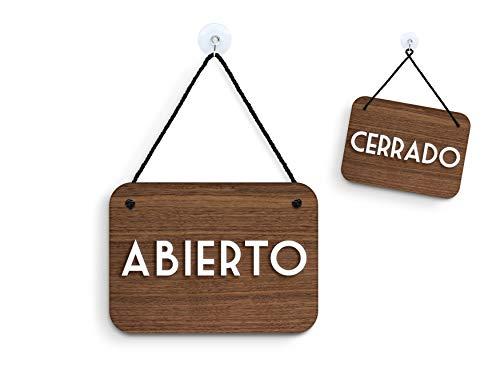 3DP Signs - Nogal Retrò Vintage - Abierto/Cerrado - Cartel Doble Cara Signo OC16 - Placa de la Puerta Colgante de Doble Cara - Letrero de la Tienda Comercial Reversible