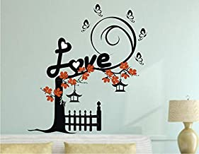 Heaven Decors Love Tree Plant with Butterfly and Flower Wall Sticker for Bedroom ( Ideal Size on Wall: 59 cm x 64 cm ),Mul...