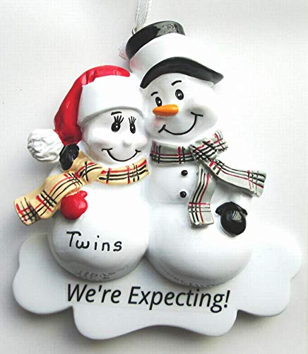Pregnant We're Expecting Snowmen Family Christmas Ornament Personalized Free (Twins)