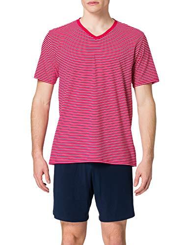 Schiesser Herren Kurz V-Ausschnitt Pyjamaset Zweiteiliger Schlafanzug, rot, 54