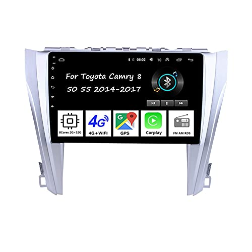 Autoradio Auto Stereo 9 Inch Touchscreen GPS Navigation Für Toyota Camry 8 50 55 2014-2017Auto Zubeh?r Einfügen und verwenden Lenkradsteuerung Unterstützung DAB RDS SWC,8 Cores 2G+32G
