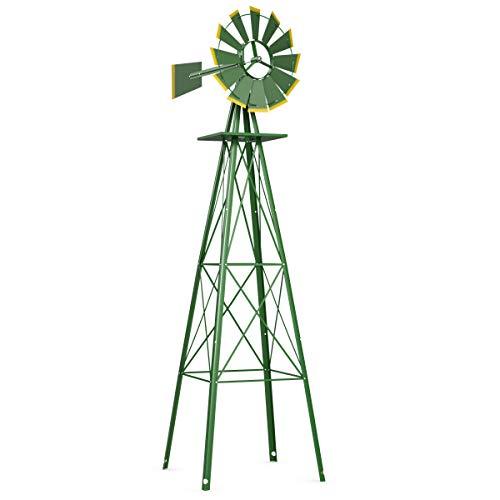 Tangkula 8FT Windmill Yard Garden Metal Ornamental Wind Mill Weather Vane Weather Resistant (Green)