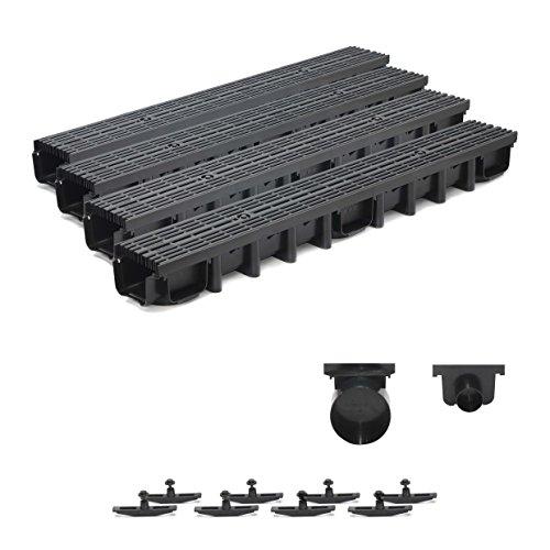 4m Entwässerungsrinne für modulares System A15 98mm, komplett Stegrost Kunststoff, Schwarz Line
