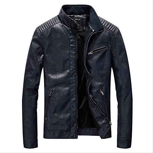 Fashion Herren Leder, Wind und Samt Jugend Lokomotive PU Lederjacke, zeigt männliche Eleganz 5XL dunkelblau