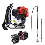 Mini Cultivator, 52CC Backpack 2 Stroke 3 In 1 Multi Cutter Saw Tiller 1.7HP Gas Powered Cultivator Petrol Tiller Garden Lawn Tool, Mini Tiller Garden Cultivator for Cutting Weeds on Lawns, Farmland