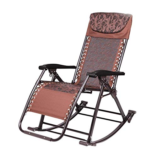 YXB Outdoor Freestyle Rocker Portable Folding Rocking Chair for Heavy People, Recliner for Patio Porch Garden Deck Lawn Camping, Support 200kg (Color : Brown)