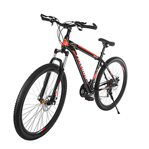 27.5'' /29'' Dual Disc Brakes Mountain Bike, Larger Size Folding Mountain Bikes for Youths and Adults, 21 Speed ​​Gears Full Suspension MTB Bikes, Lightweight Iron Frame (29 inch)