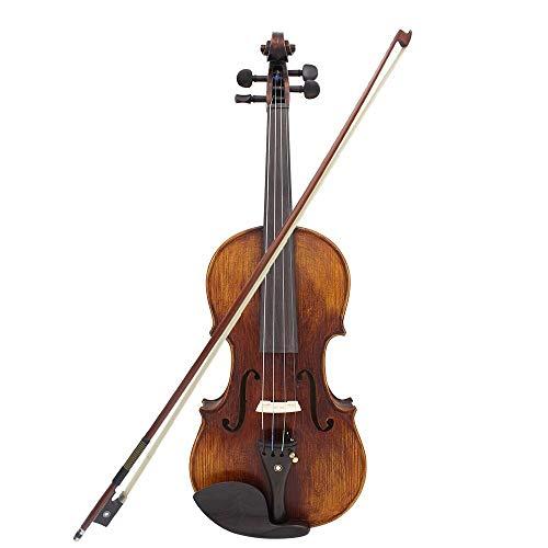 YUXIwang Violine 4/4 Größe Handgefertigte Massivholz Akustische Violine Geige Mit Tragekoffer Tuner Schulterstütze String Reinigungstuch ROING Instrumente ( Color : As Show )
